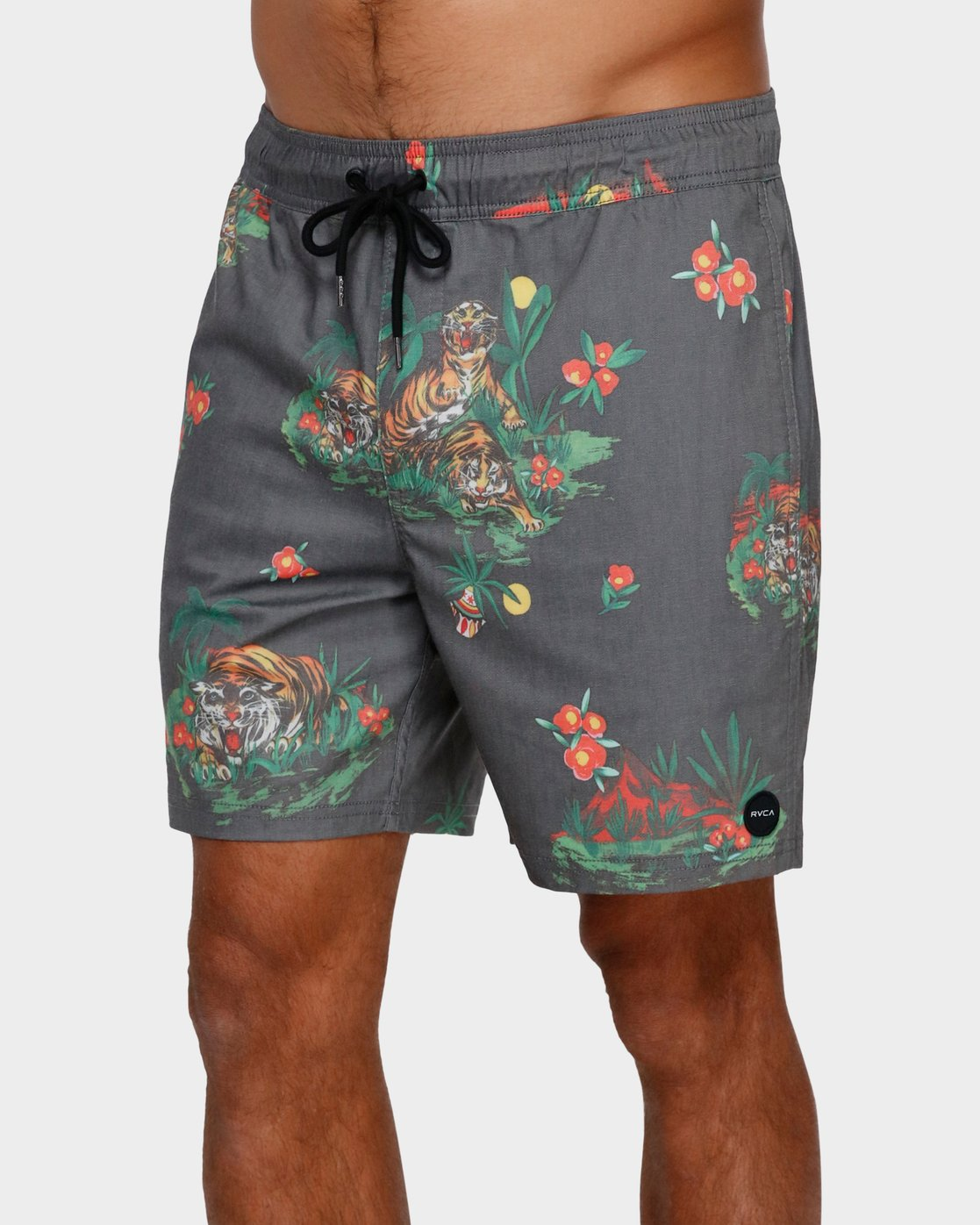 0 Tiger Elastic Short Black R391405 RVCA
