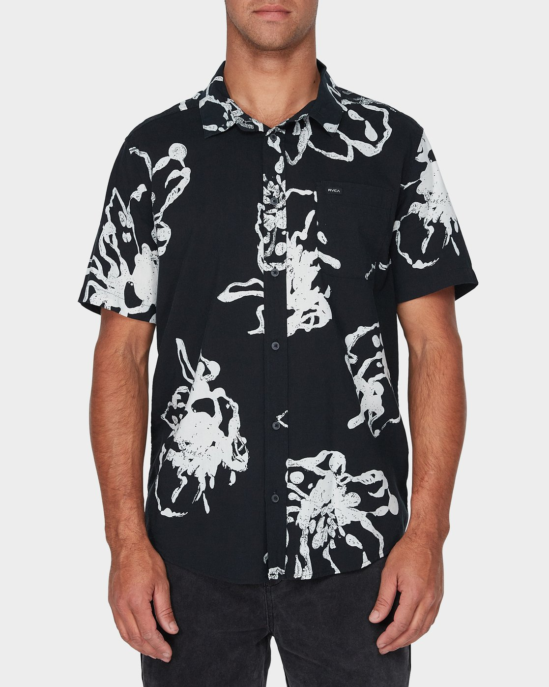 0 Vaughn Linear Short Sleeve Shirt Black R393184 RVCA
