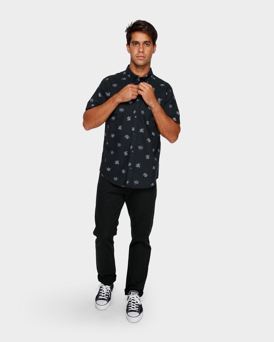 4 Thatll Do Print Short Sleeve Shirt Black R393188 RVCA