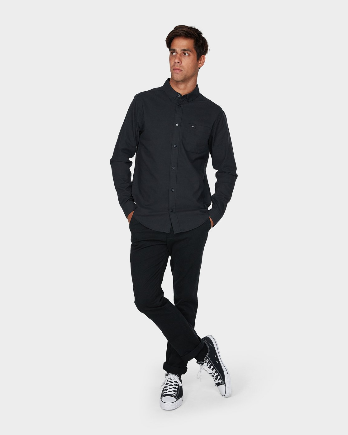3 Thatll Do Stretch Long Sleeve Shirt Black R393198 RVCA