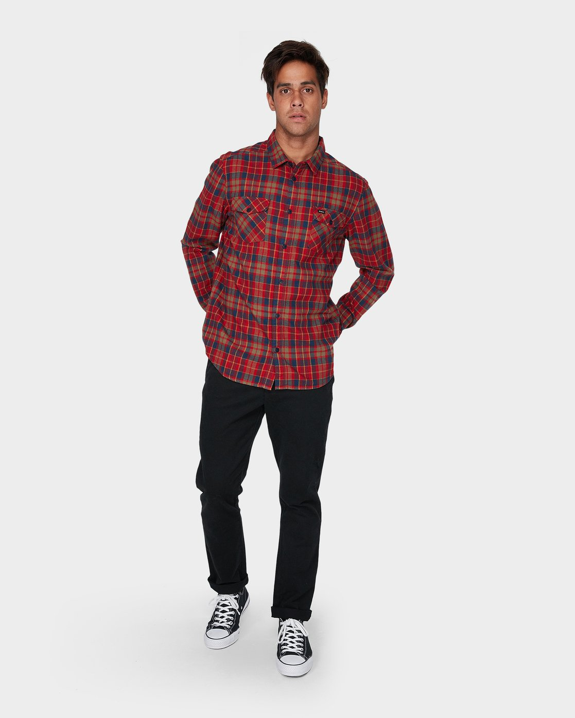 3 Watt Flannel Long Sleeve Shirt Red R393200 RVCA