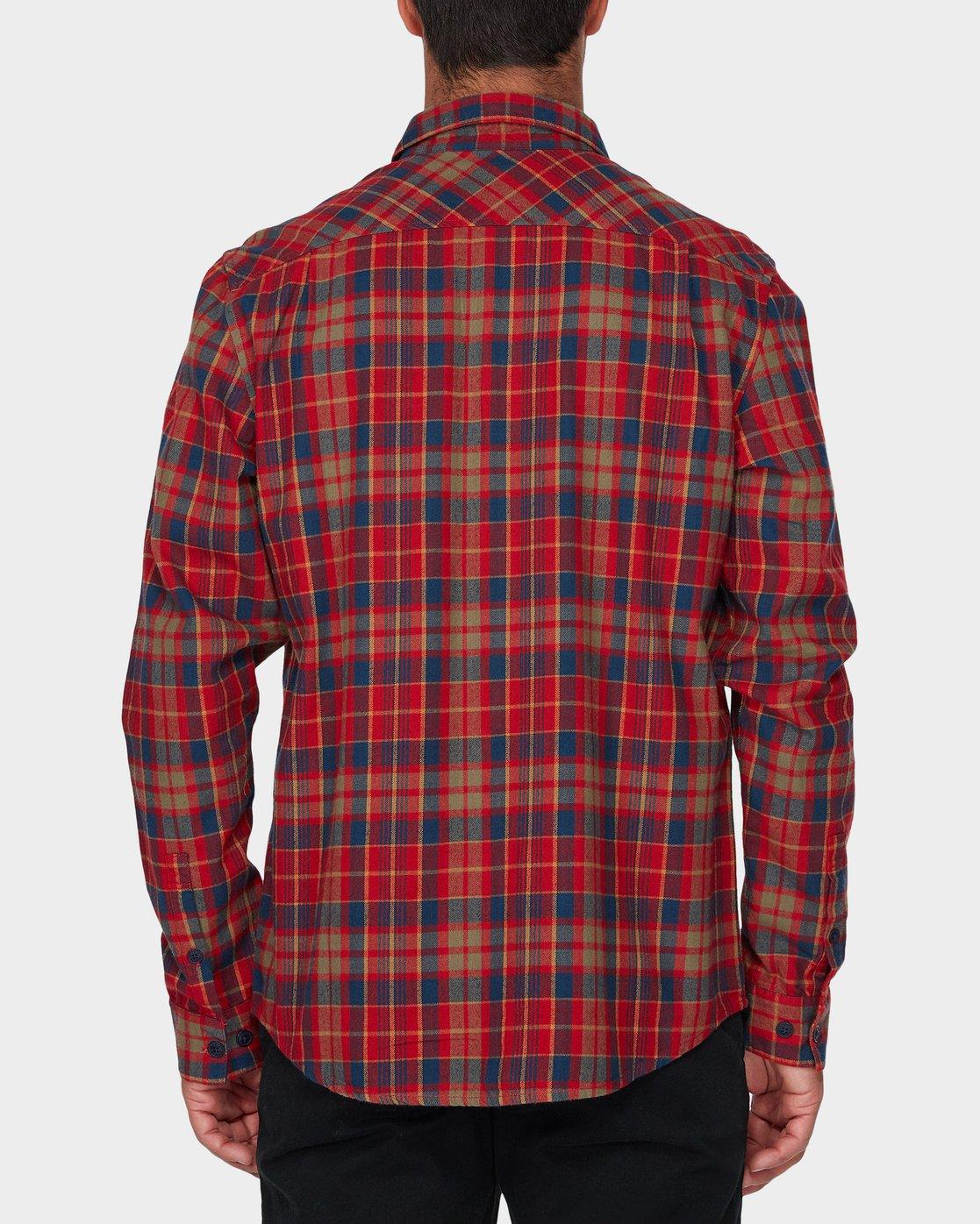 2 Watt Flannel Long Sleeve Shirt Red R393200 RVCA