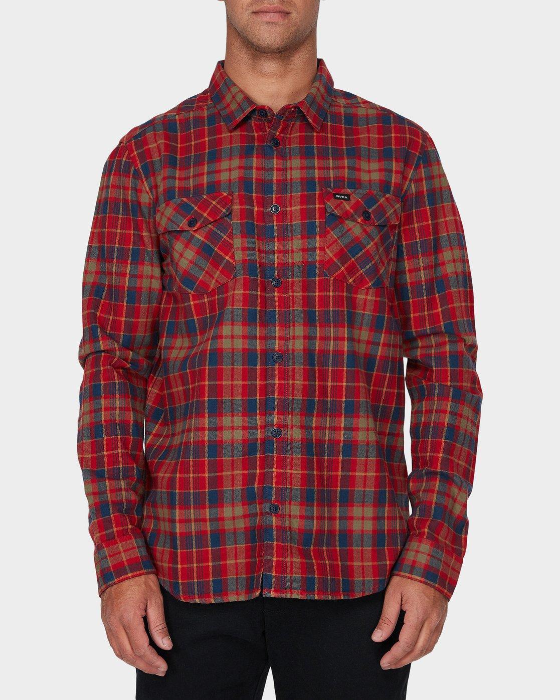 0 Watt Flannel Long Sleeve Shirt Red R393200 RVCA