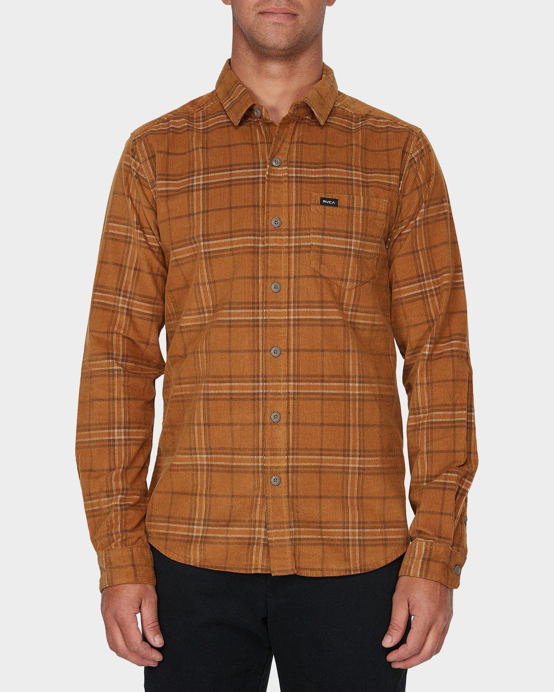 0 Phases Plaid Cord Long Sleeve Shirt Brown R393201 RVCA