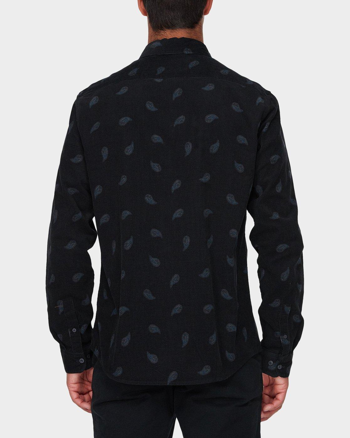 2 Paradis Cord Long Sleeve Shirt Black R393203 RVCA