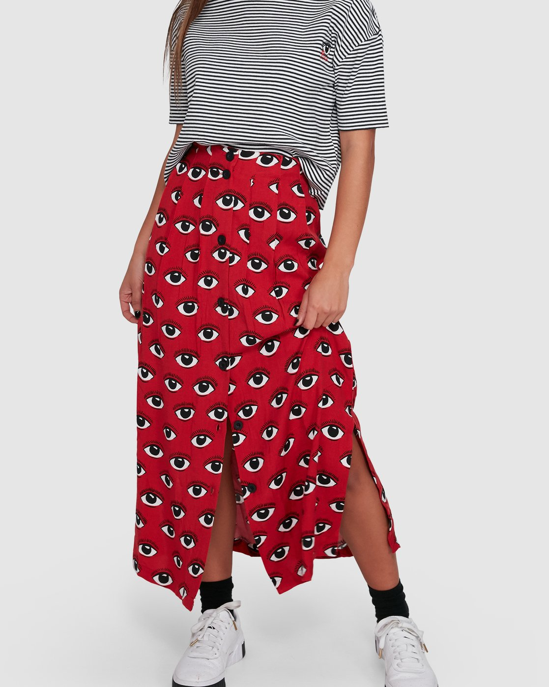 6 REALE MIDI SKIRT Red R405833 RVCA