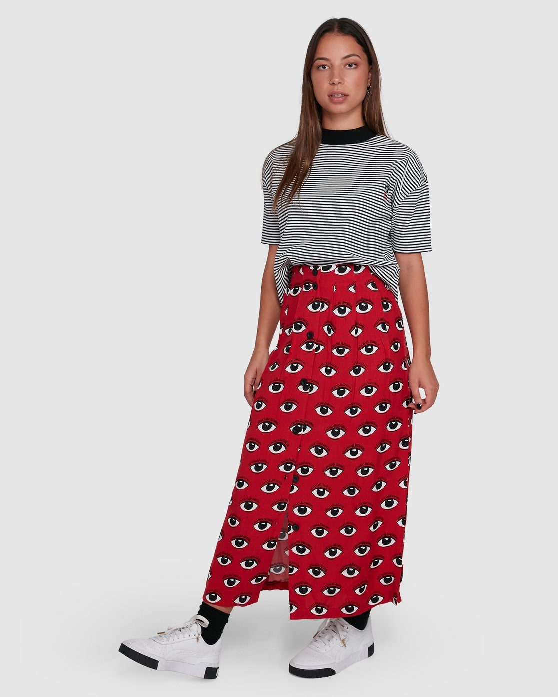 2 REALE MIDI SKIRT Red R405833 RVCA