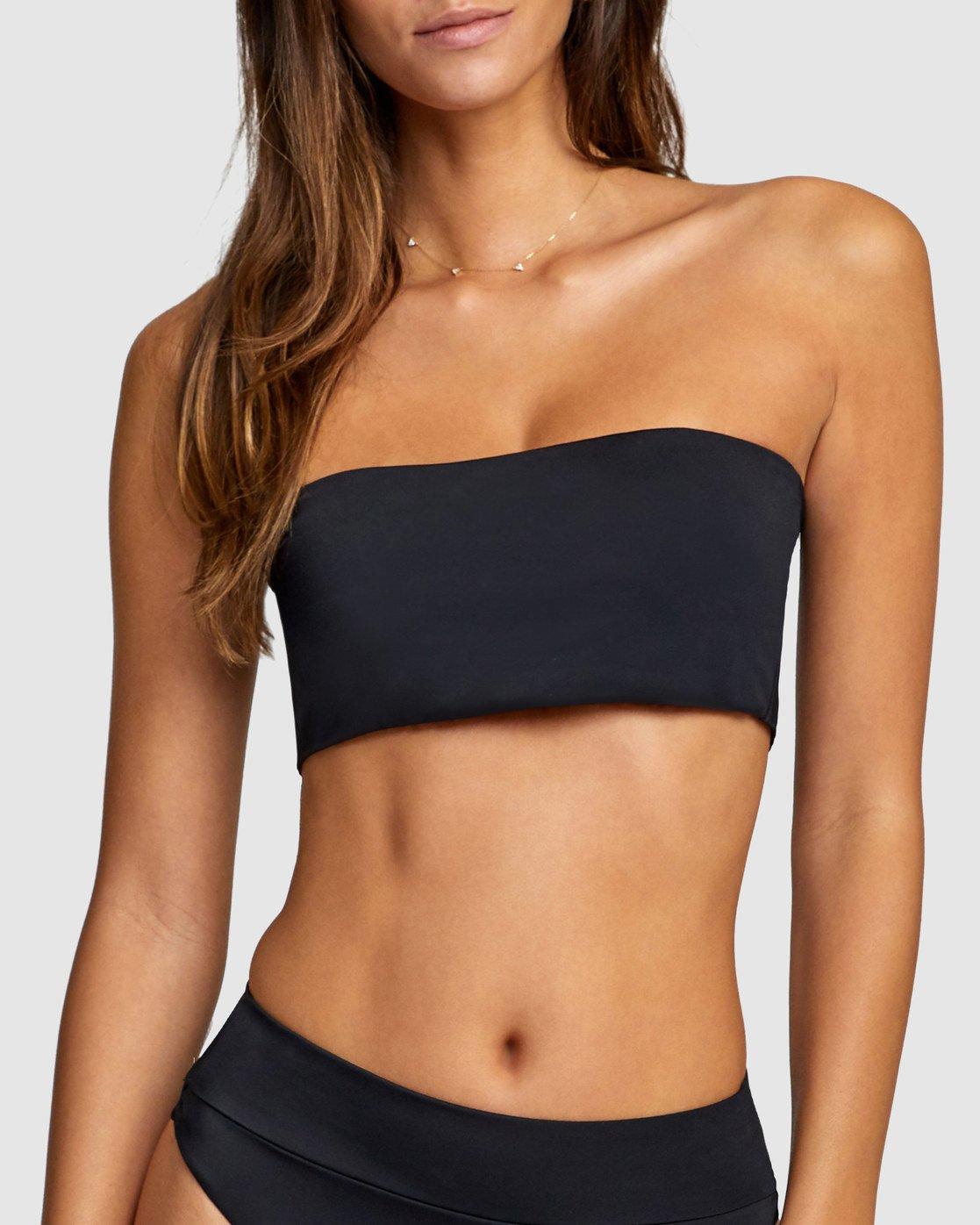3 Solid Bandeau Bikini Top Black R406857 RVCA
