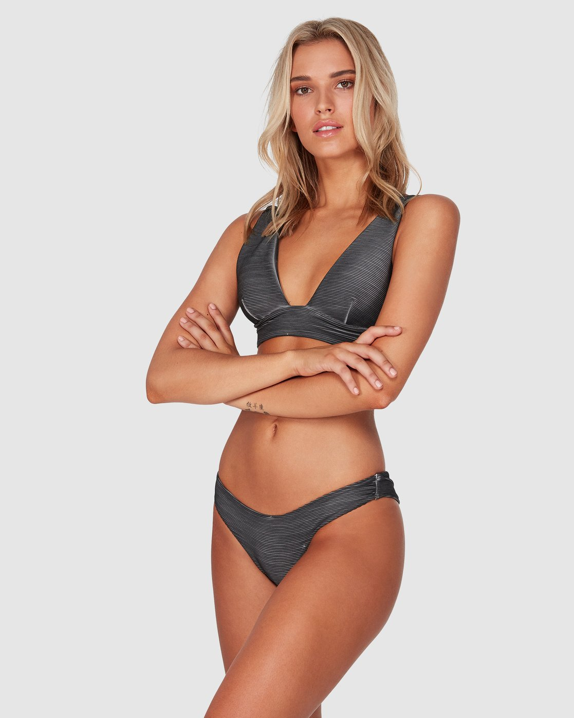 RVCA Womens Salt Wash Cheeky Coverage Bikini Bottom
