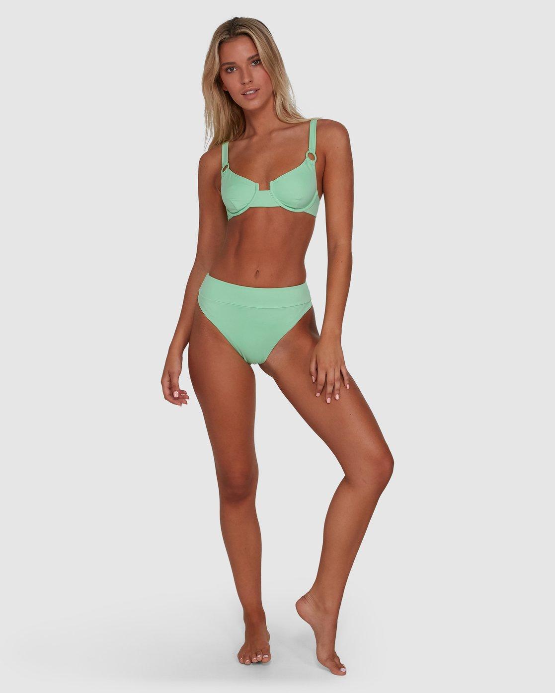 9 Solid High Rise Bikini Bottom Green R408822 RVCA