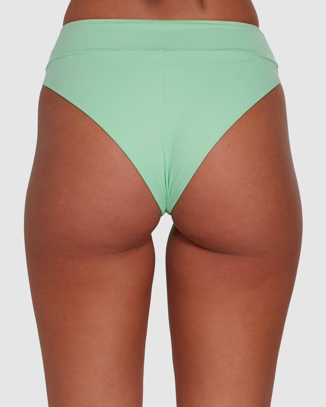 4 Solid High Rise Bikini Bottom Green R408822 RVCA