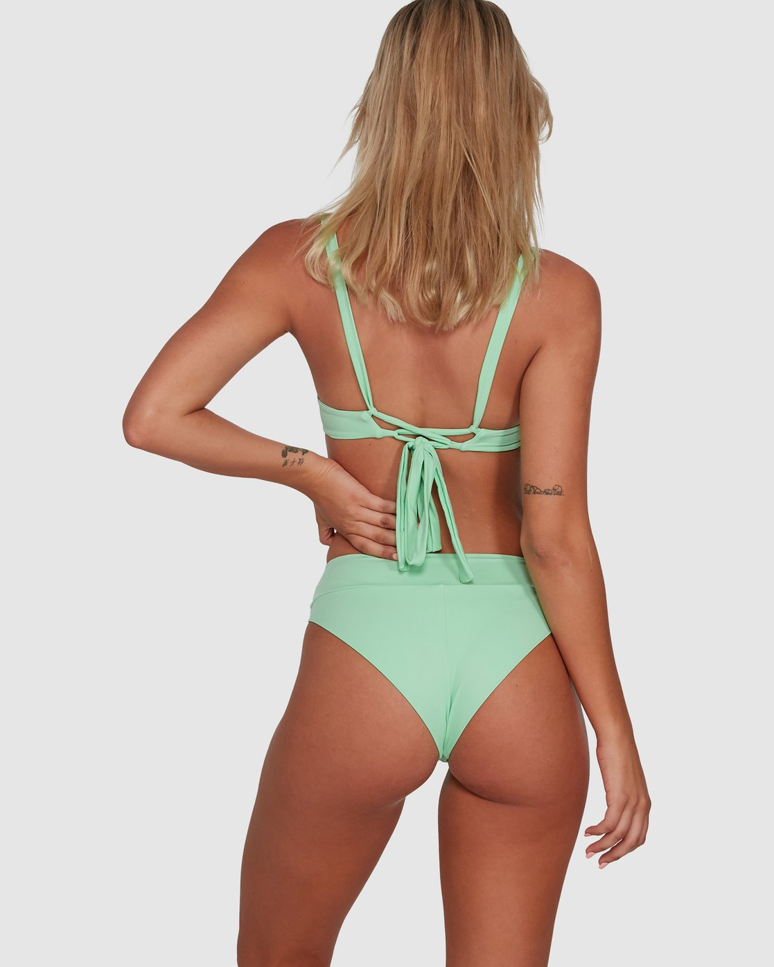 6 Solid High Rise Bikini Bottom Green R408822 RVCA