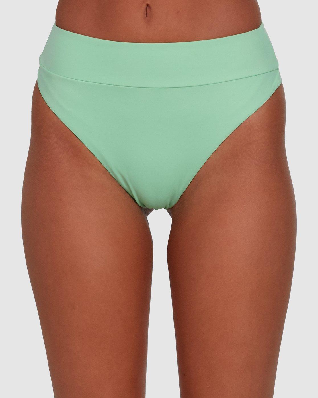 3 Solid High Rise Bikini Bottom Green R408822 RVCA