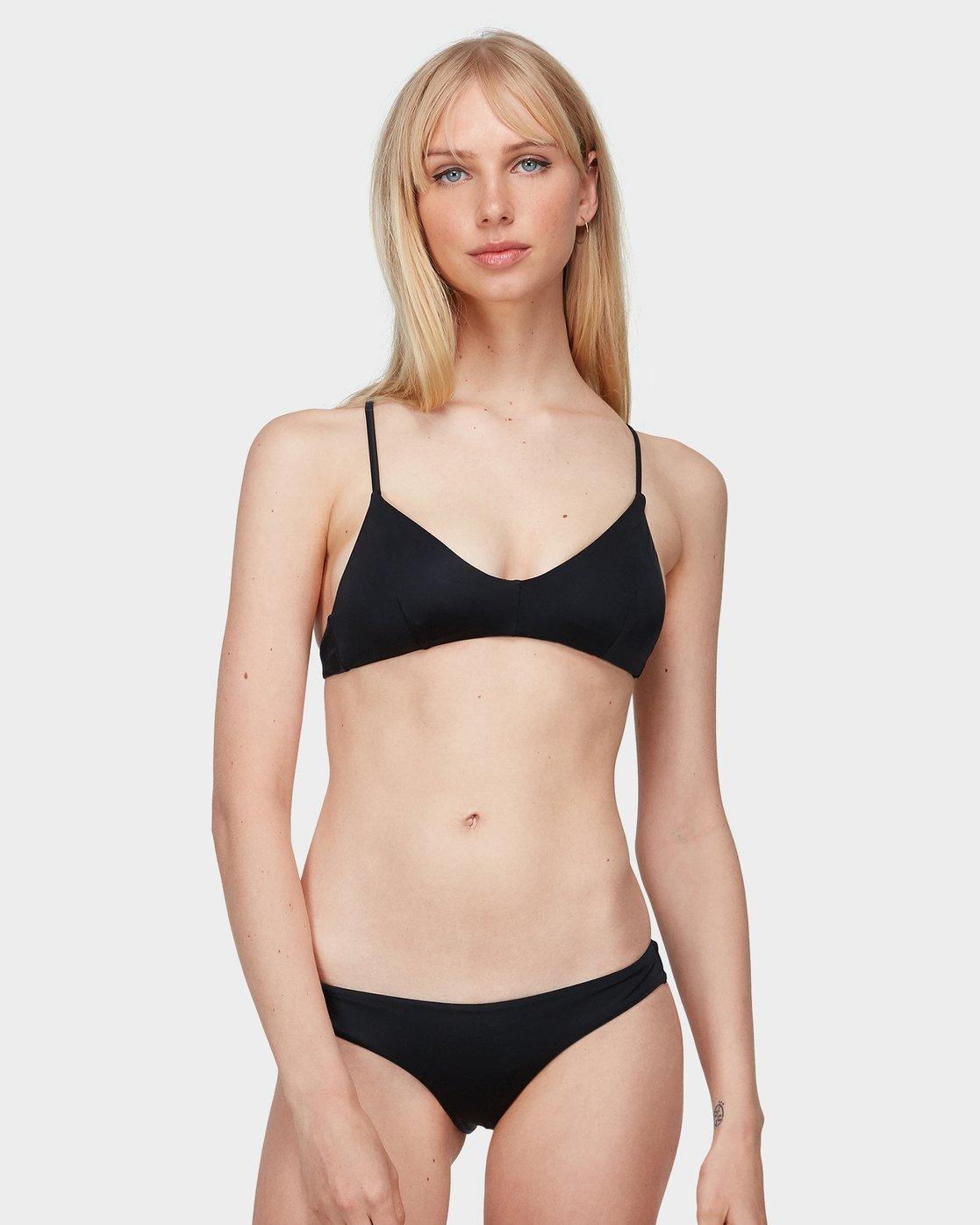 0 Solid Cross Back Bikini Top Black R462818 RVCA