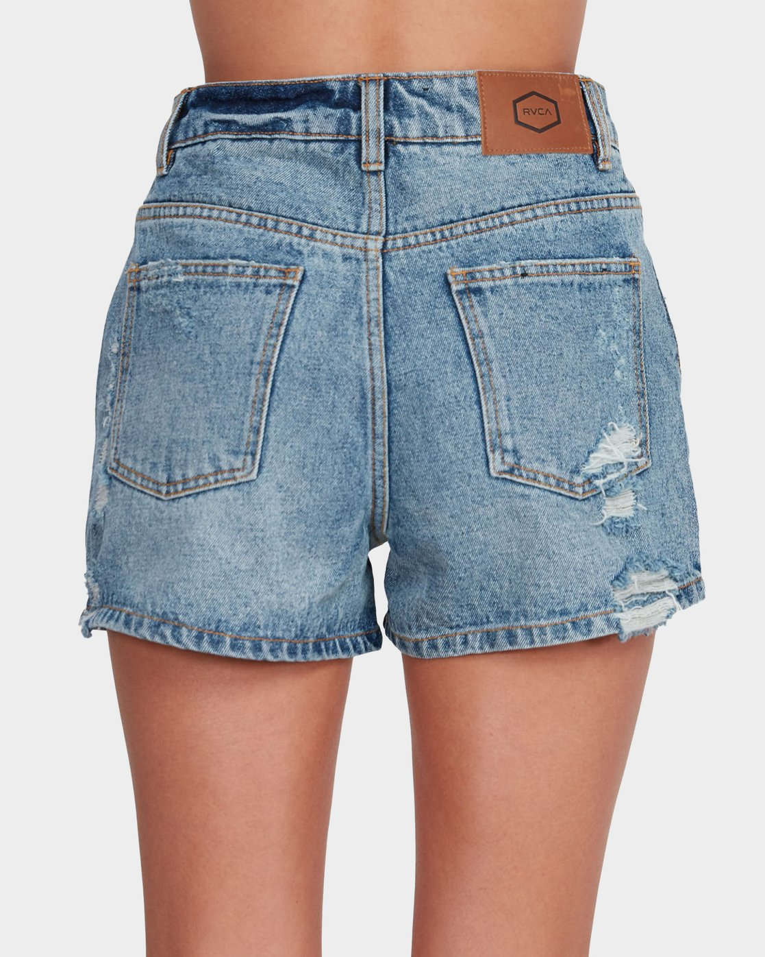 4 Transit High Rise Denim Short Blue R481313 RVCA
