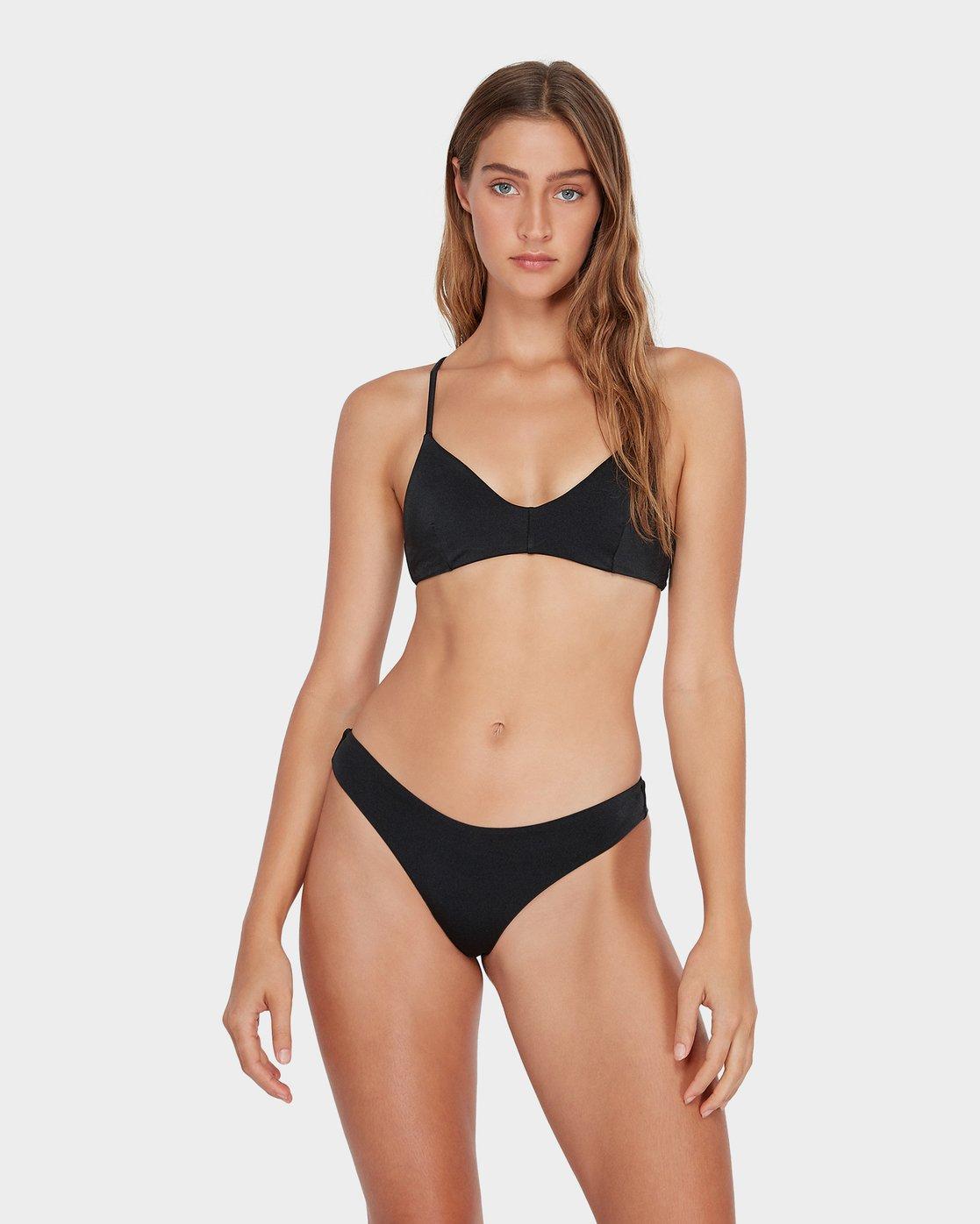 2 Solid Shimmer Cheeky Bikini Pant Black R481804 RVCA