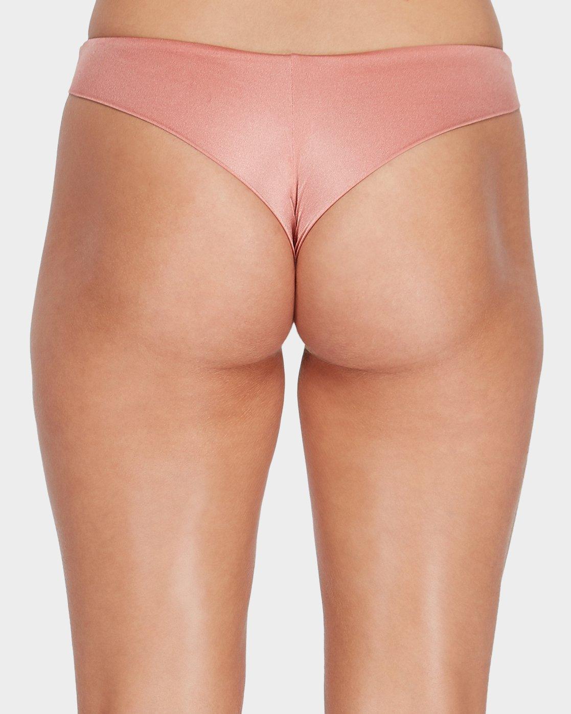 4 Solid Shimmer Cheeky Bikini Pant Beige R481804 RVCA