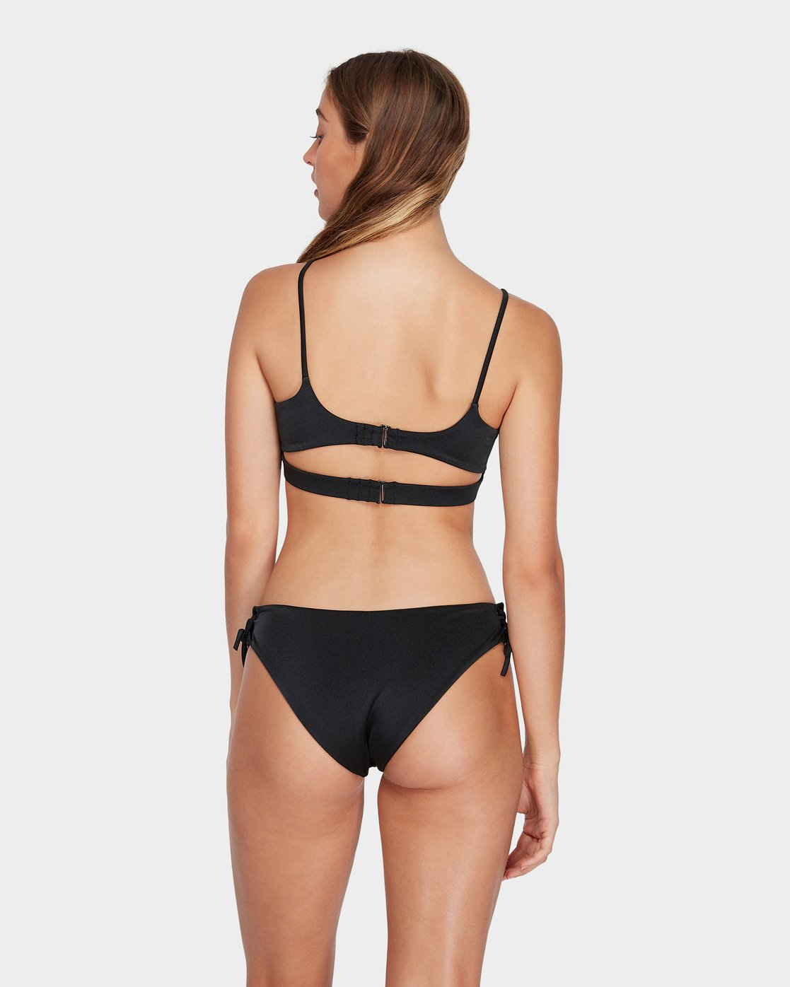 2 Solid Shimmer Lace Up Bikini Top Black R482804 RVCA