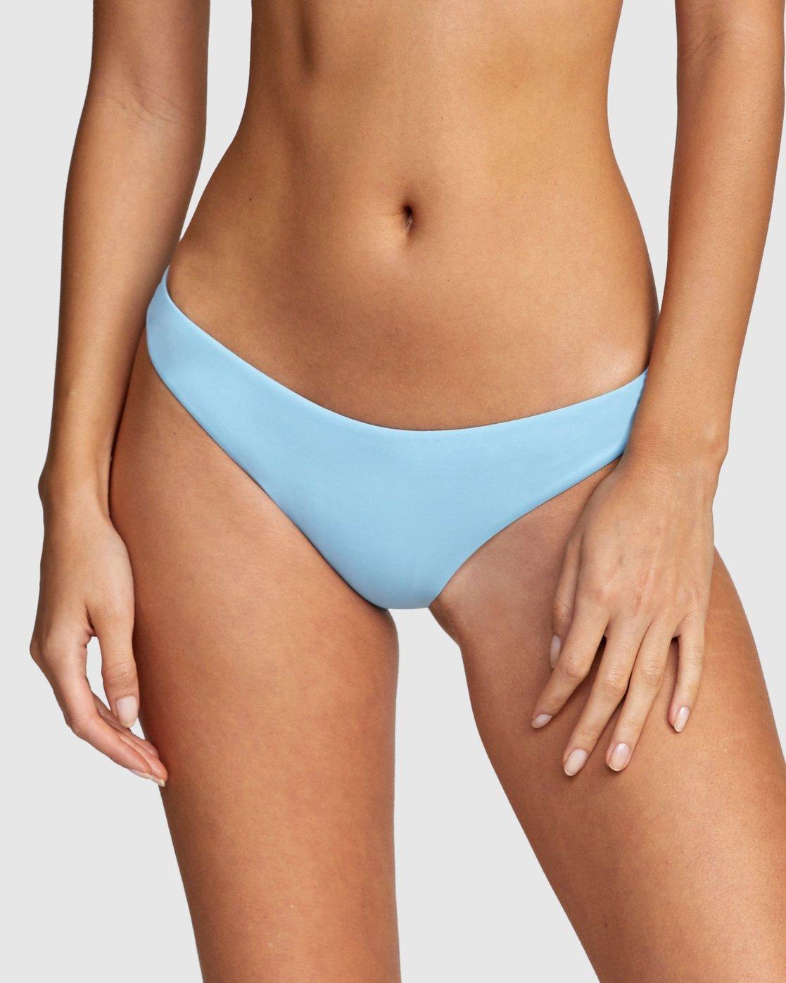 4 Solid Cheeky Bikini Bottom Blue R484826 RVCA