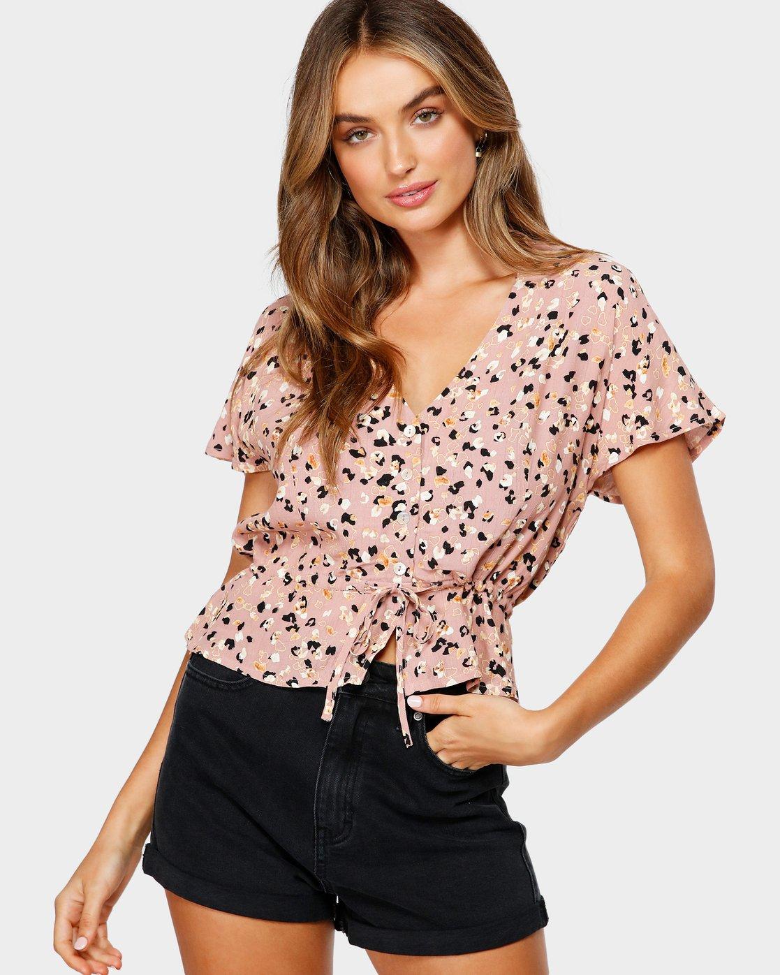 1 Farren Short Sleeve Shirt Brown R491183 RVCA