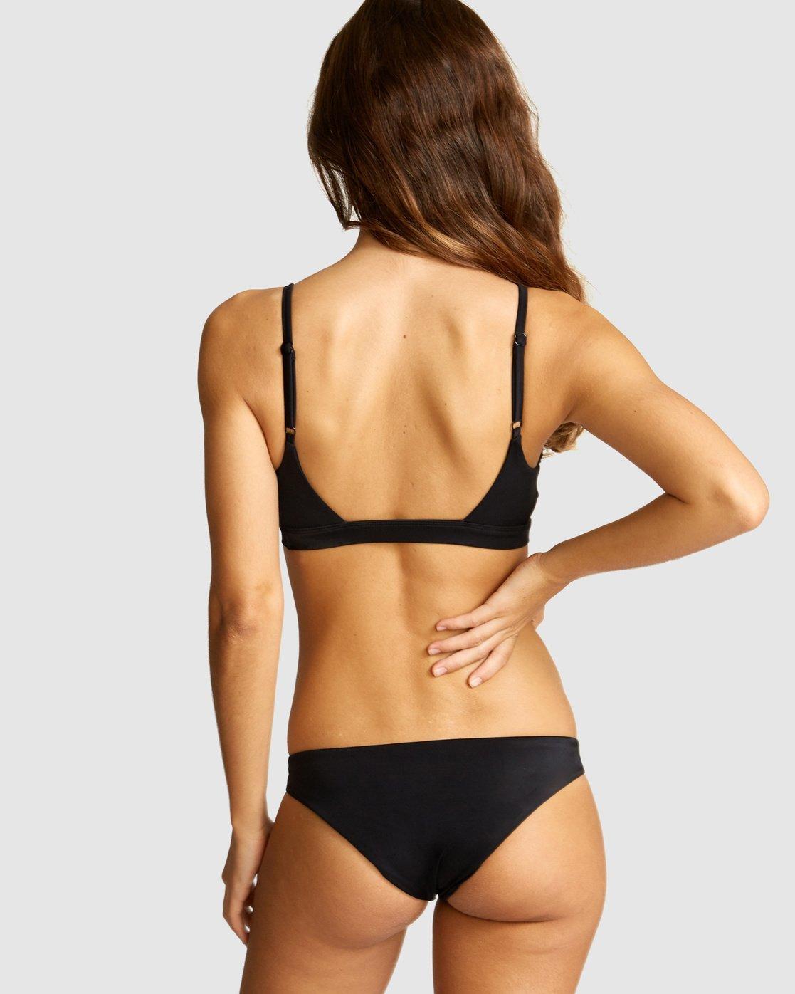 0 Solid Tab Front Medium Bikini Bottom Black R491803 RVCA
