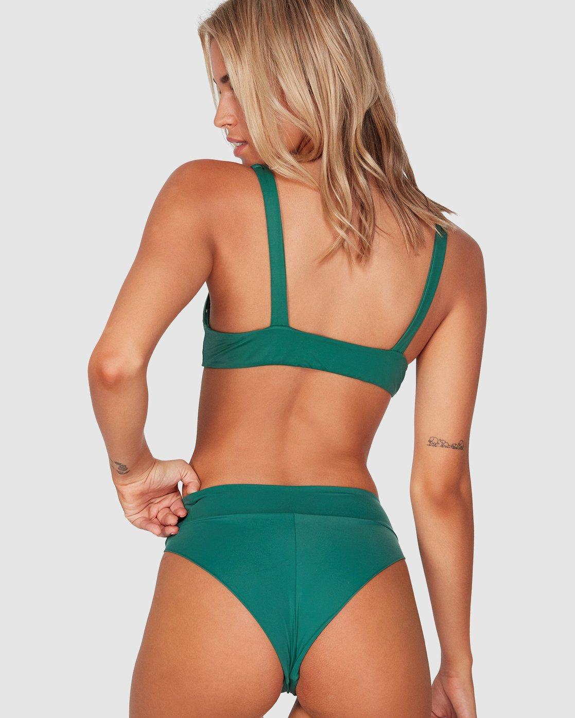 0 Solid High Rise Cheeky Bikini Bottoms Green R491806 RVCA