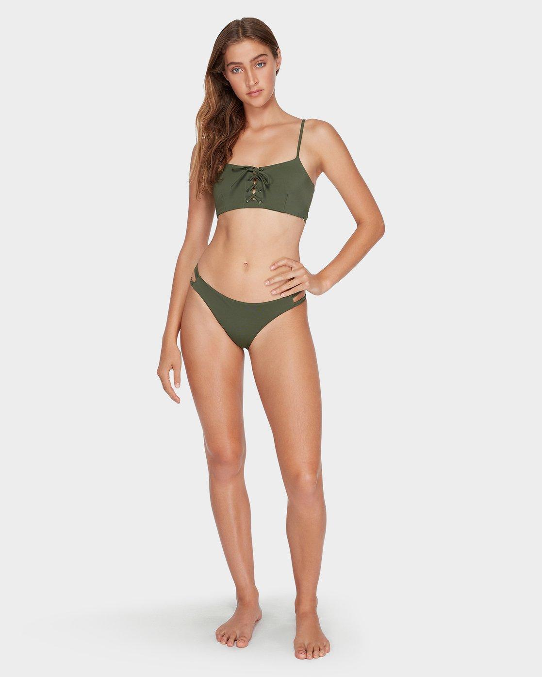 5 Solid Laced Bikini Top Green R493803 RVCA