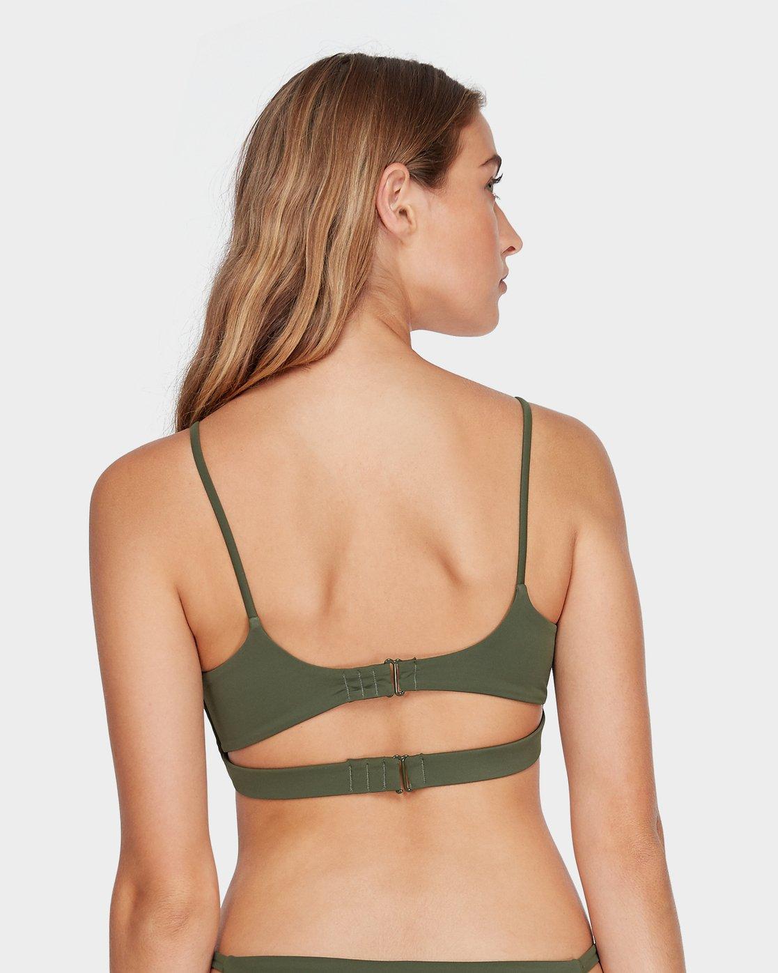 4 Solid Laced Bikini Top Green R493803 RVCA