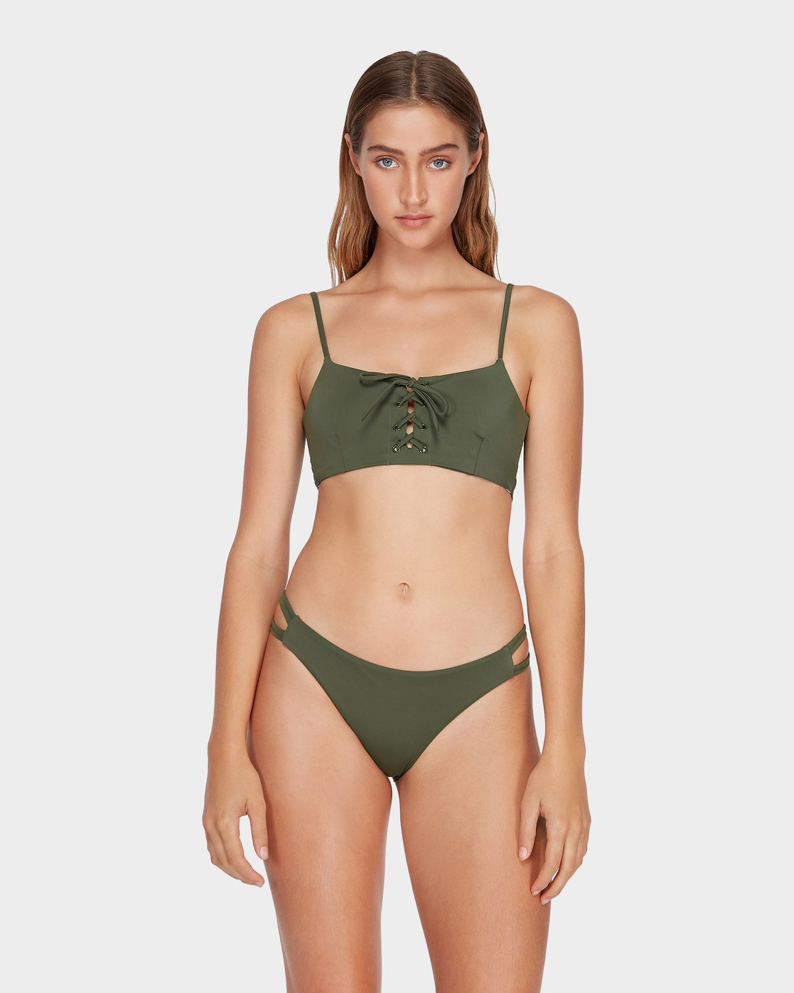 0 Solid Laced Bikini Top Green R493803 RVCA