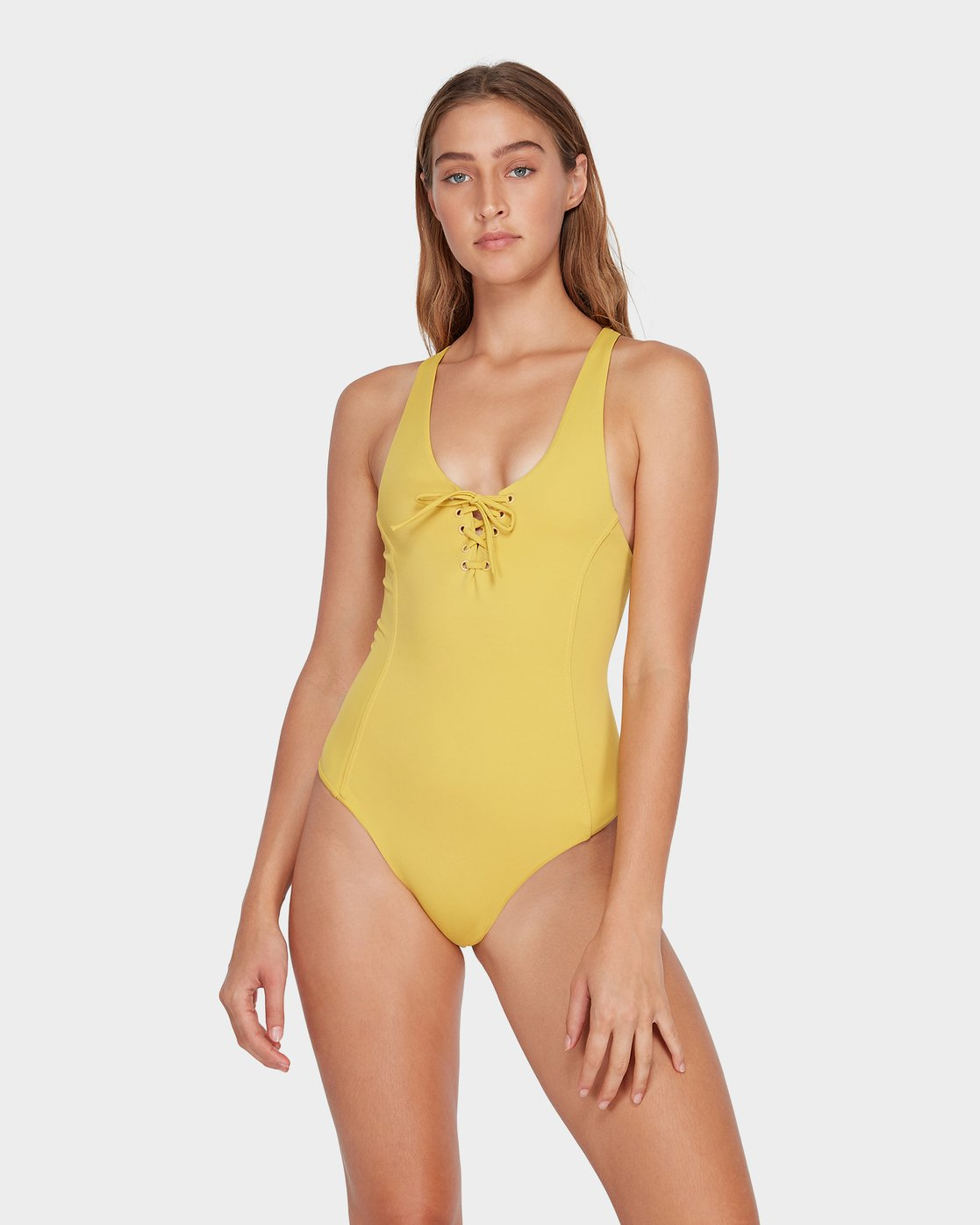 0 Solid Lace Front One Piece Yellow R493804 RVCA