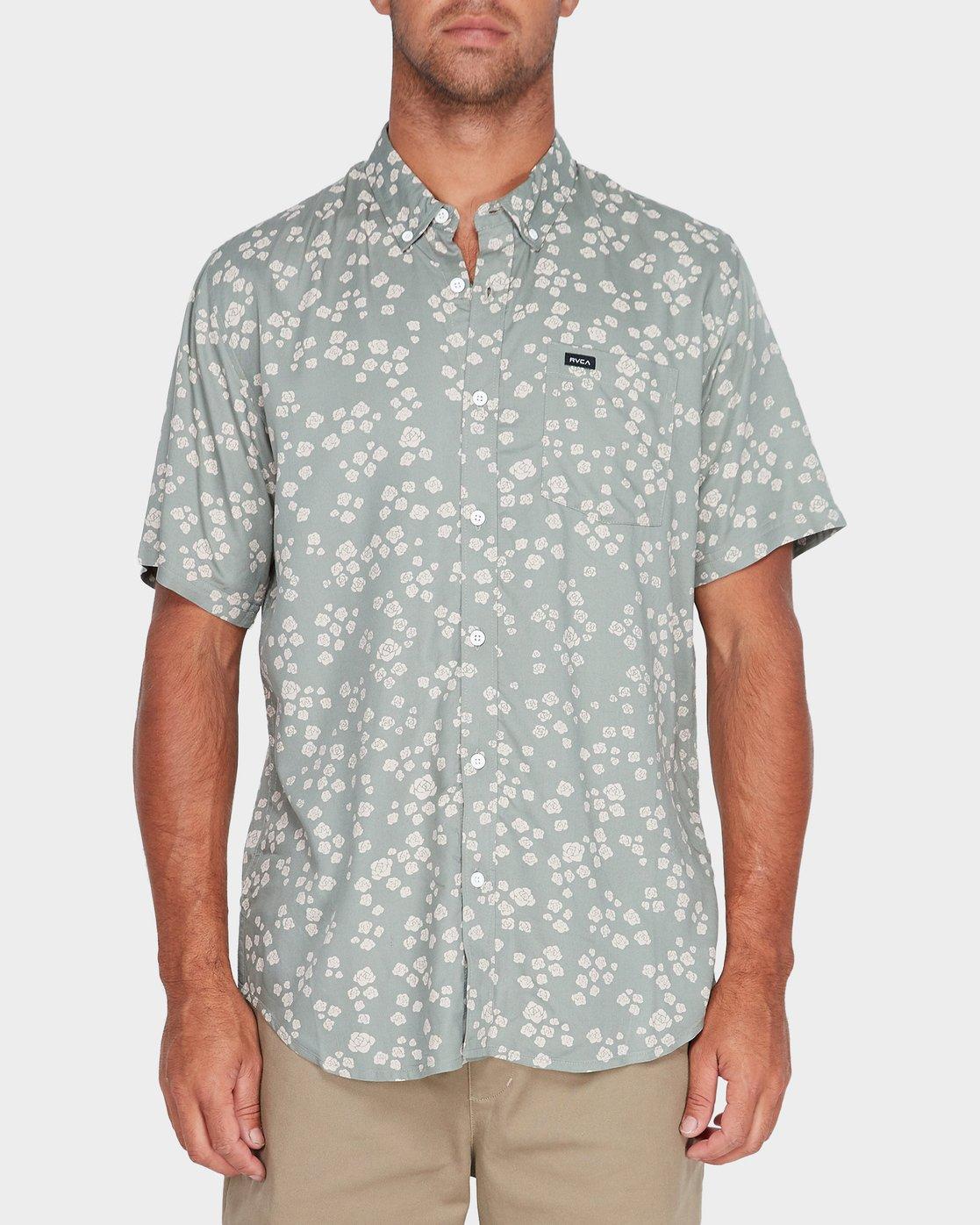 0 Yth RVCA Rosa Short Sleeve Shirt Green R582181 RVCA