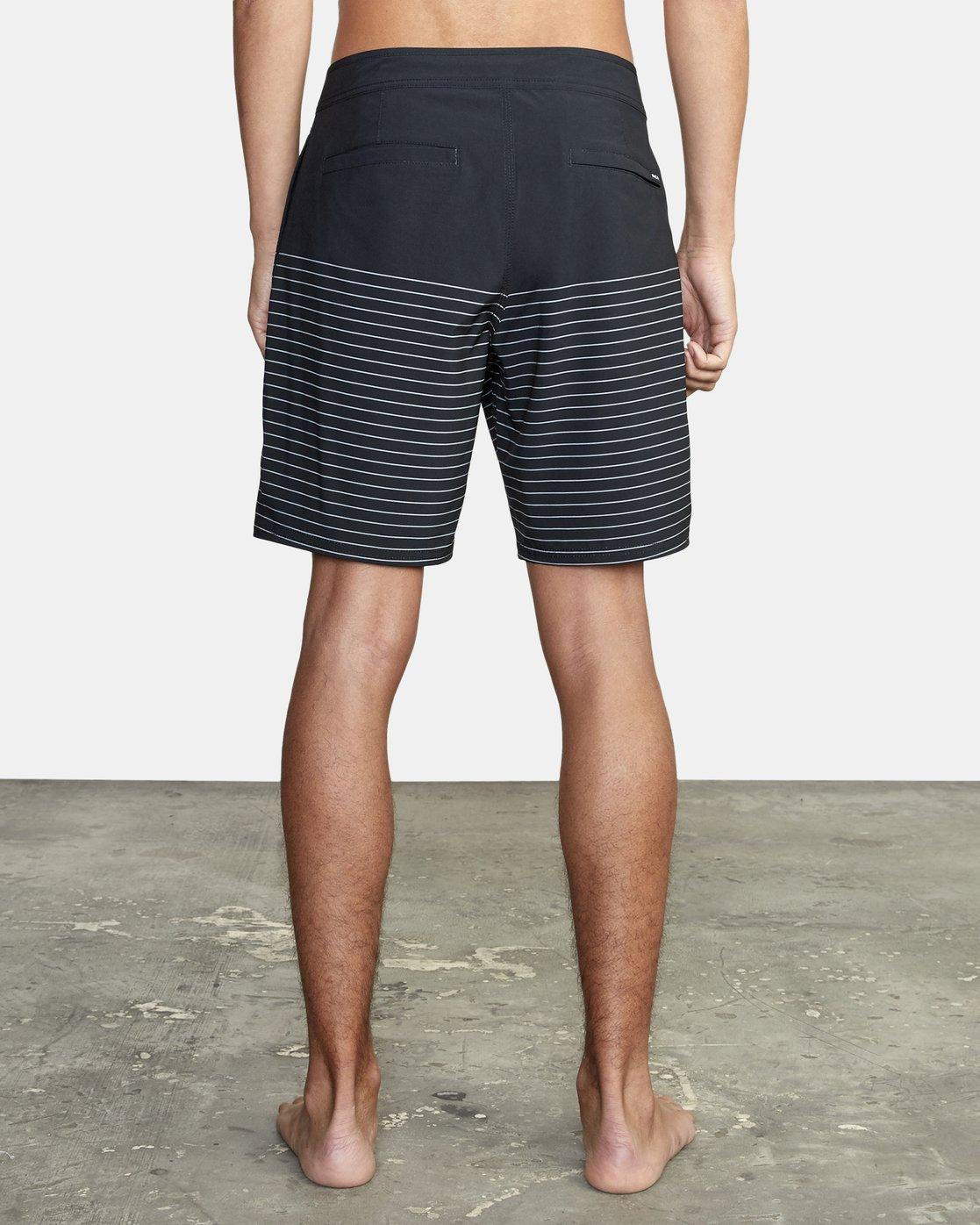 "3 Curren Trunk 18"" - Striped Board Shorts for Men Black S1BSRCRVP0 RVCA"