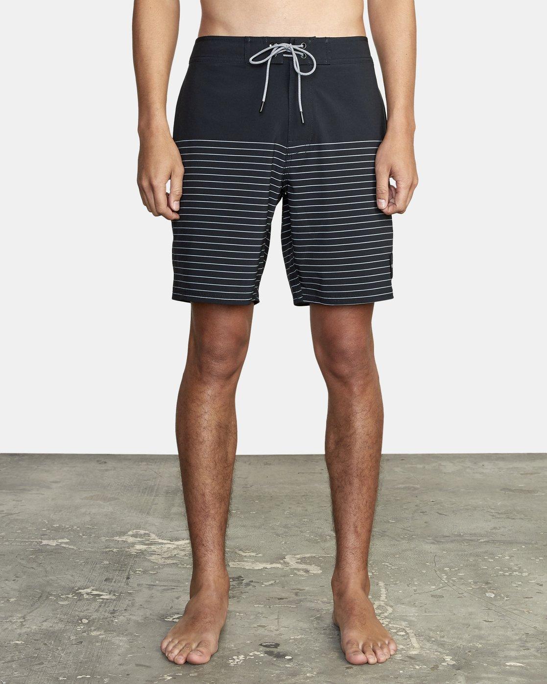 "0 Curren Trunk 18"" - Striped Board Shorts for Men Black S1BSRCRVP0 RVCA"