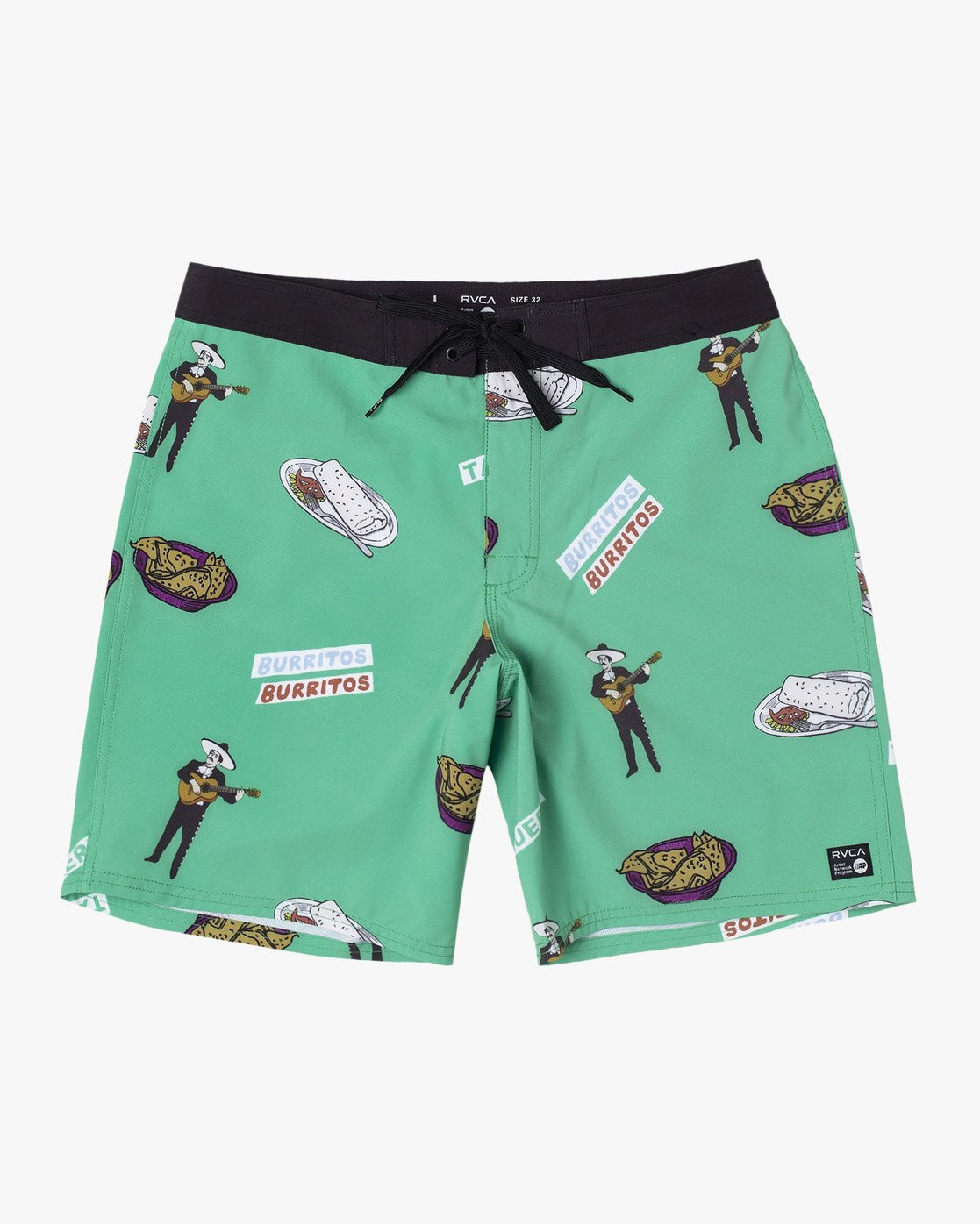 "0 Hot Fudge Trunk 18"" - Printed Board Shorts for Men Green S1BSRMRVP0 RVCA"