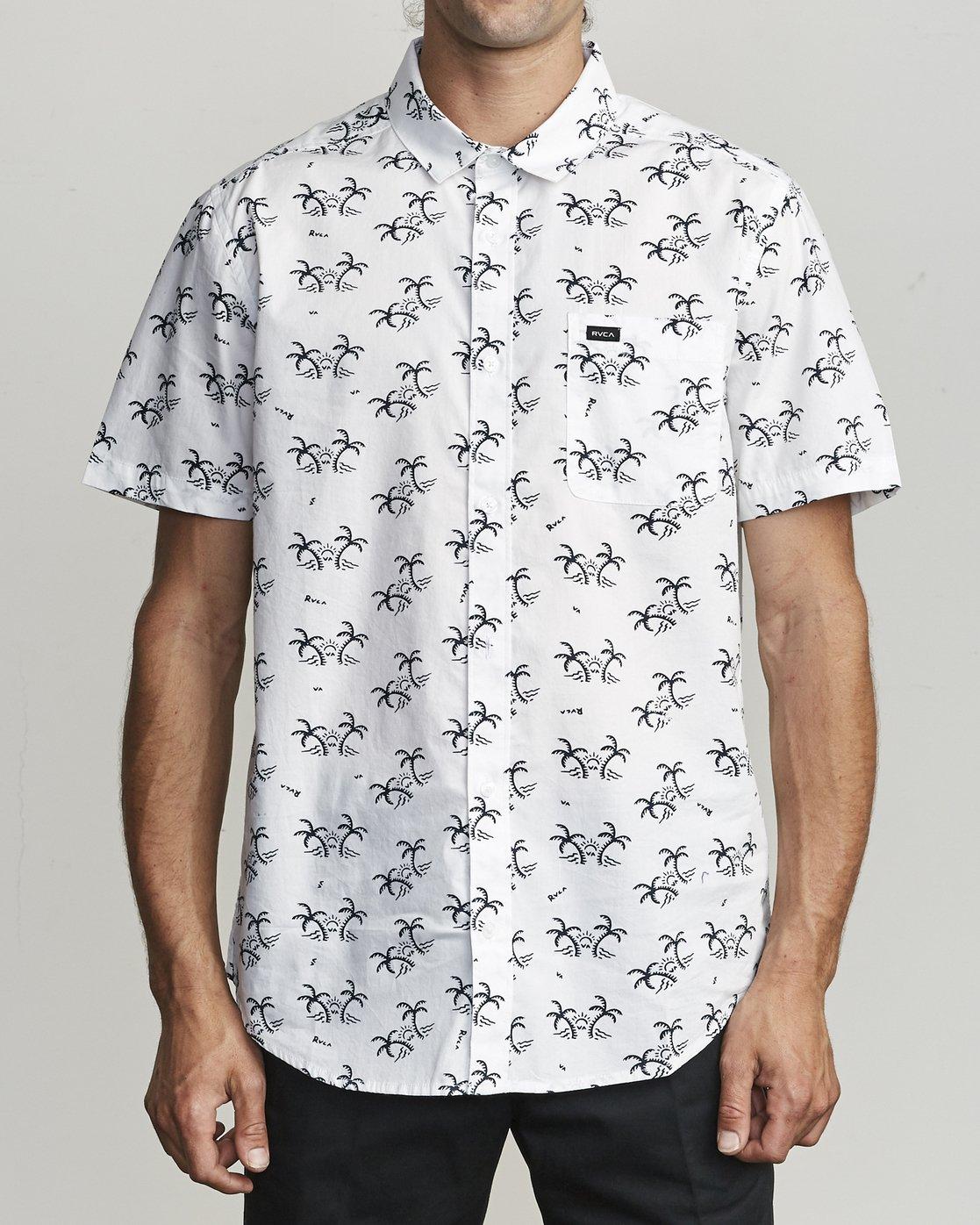 1 Easy Palms - Palm Print Shirt for Men White S1SHRGRVP0 RVCA