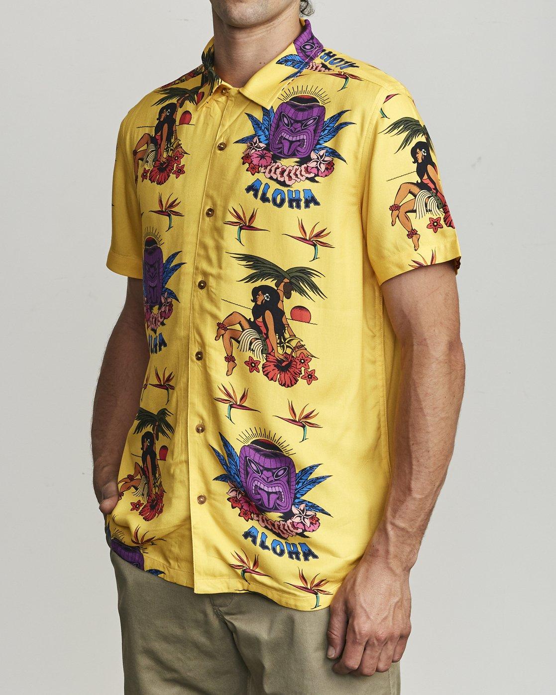 3 Dmote Tiki - Printed Short Sleeve Shirt for Men  S1SHRHRVP0 RVCA