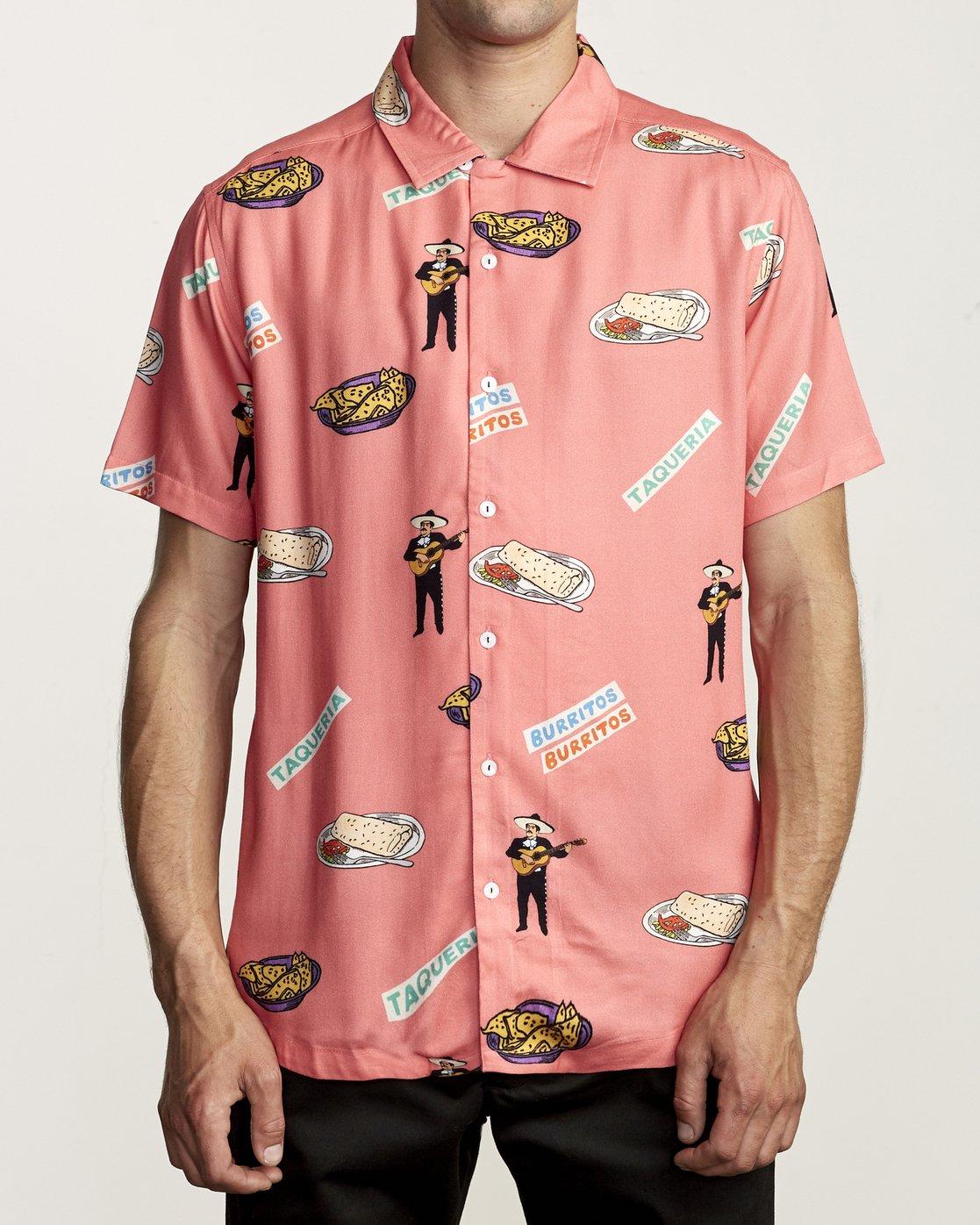 0 Hot Fudge - Printed Short Sleeve Shirt for Men Pink S1SHRJRVP0 RVCA