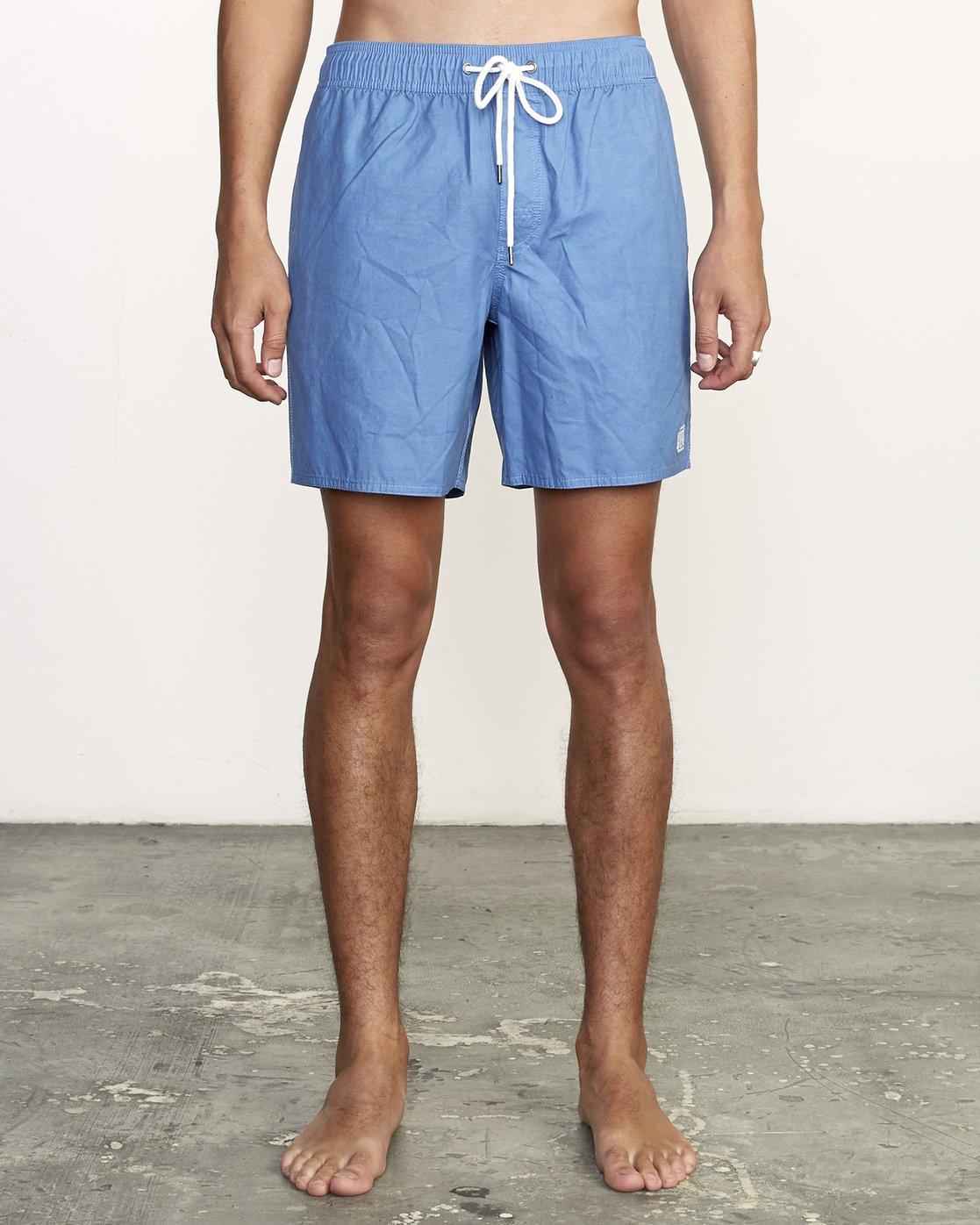 """1 Opposites 17"""" -Elastic Waist Shorts for Men  S1VORBRVP0 RVCA"""