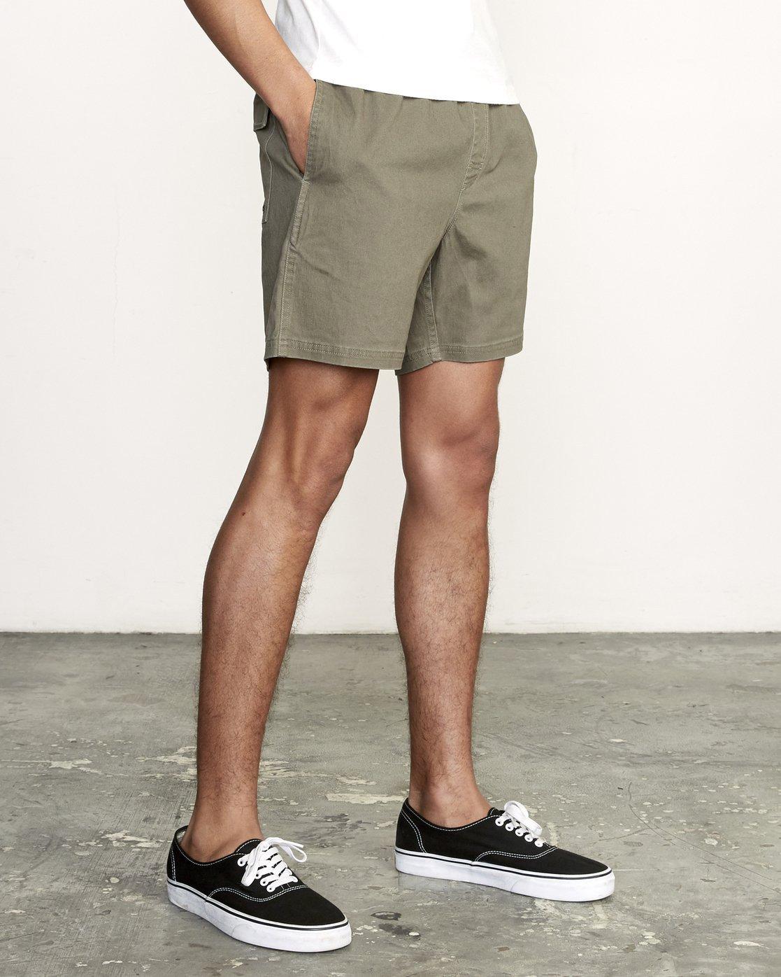 6 Escape Elastic  - Solid Elastic Waist Short for Men Green S1WKRLRVP0 RVCA