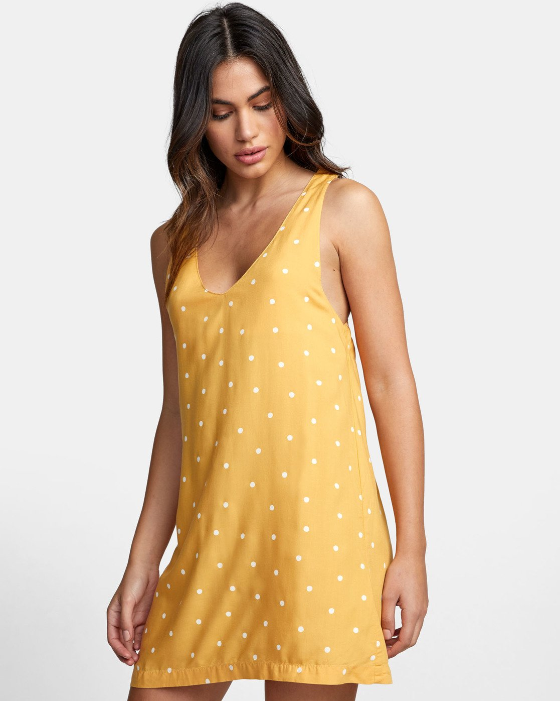 3 Boundary Dot - Dot Print Tank Dress for Women Yellow S3DRRGRVP0 RVCA