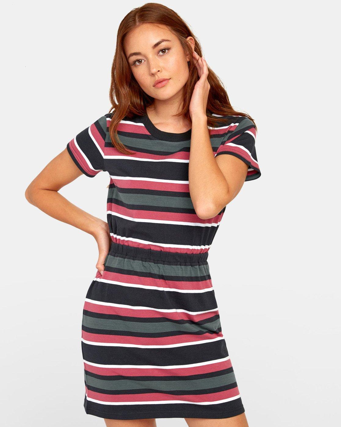 1 Daized Dress - Striped T-Shirt Dress for Women Black S3DRRJRVP0 RVCA
