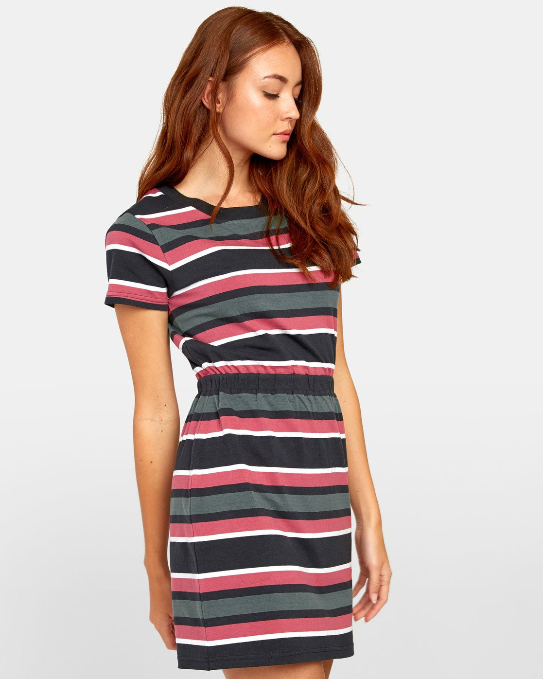 2 Daized Dress - Striped T-Shirt Dress for Women Black S3DRRJRVP0 RVCA