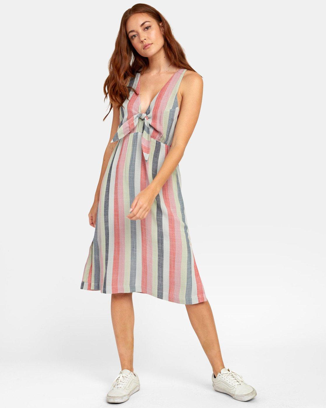 4 Flossie - Robe midi à rayures pour Femme  S3DRRMRVP0 RVCA