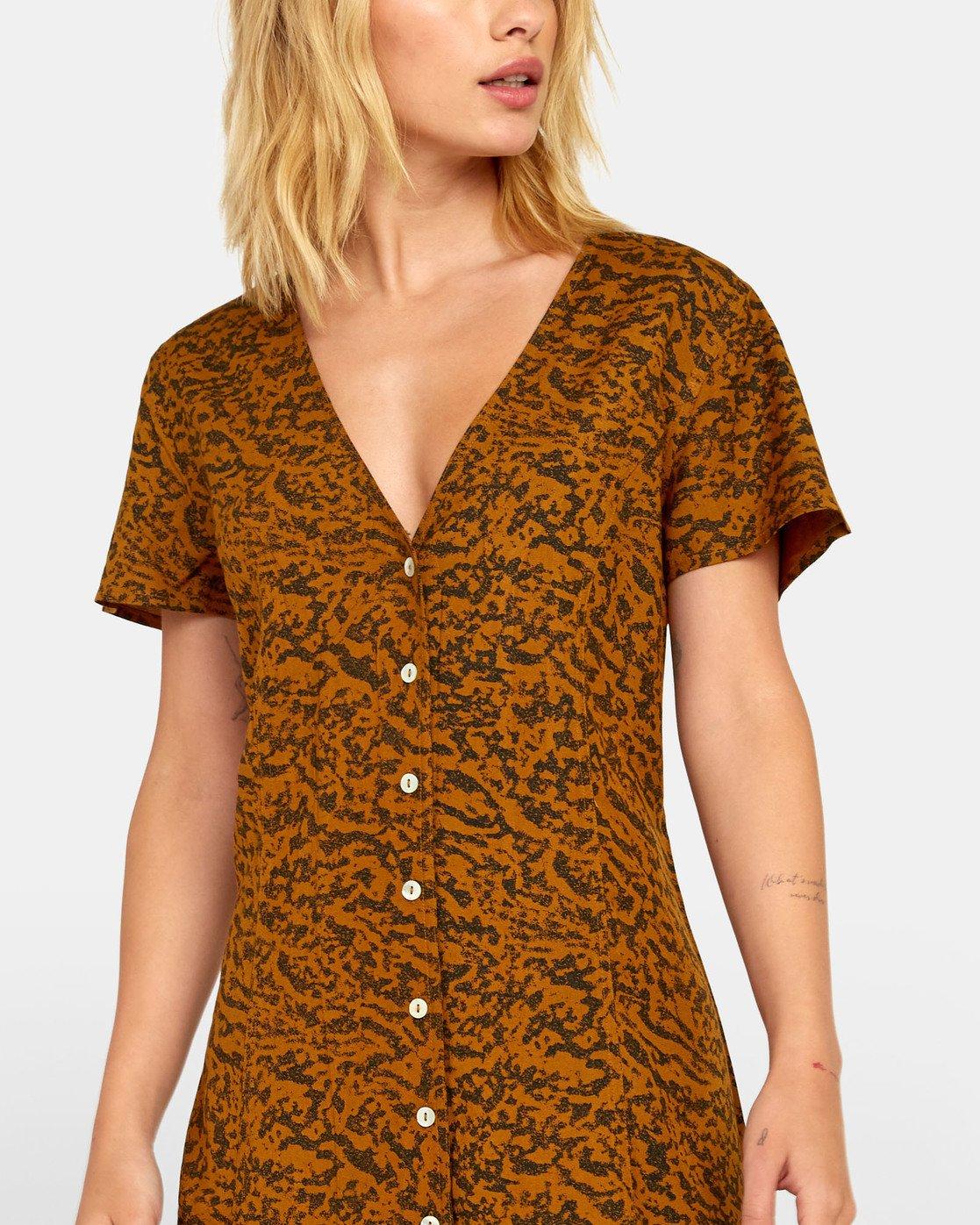 5 Guilt Dress - Printed Button Up Dress for Women Brown S3DRRORVP0 RVCA