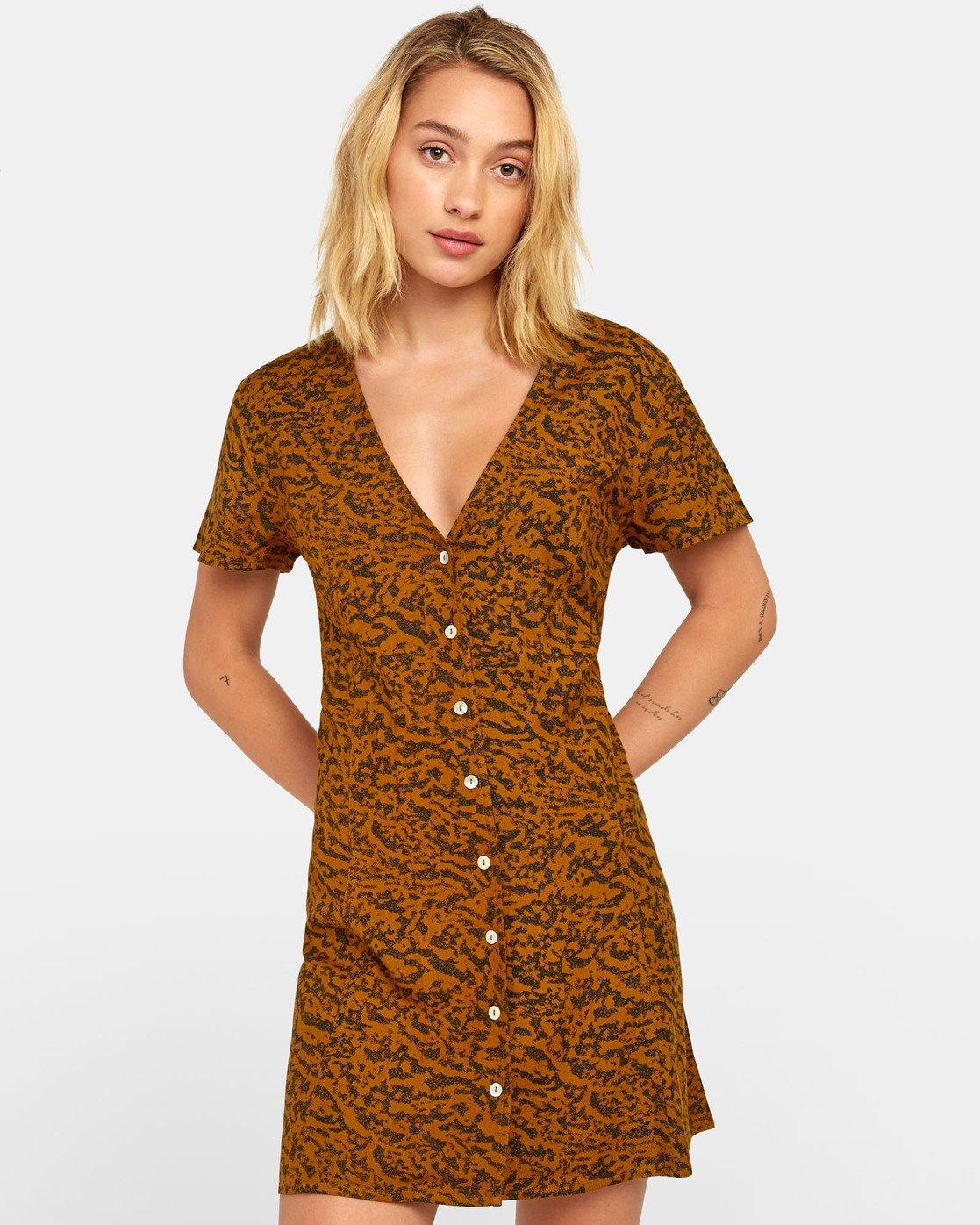 0 Guilt Dress - Printed Button Up Dress for Women Brown S3DRRORVP0 RVCA