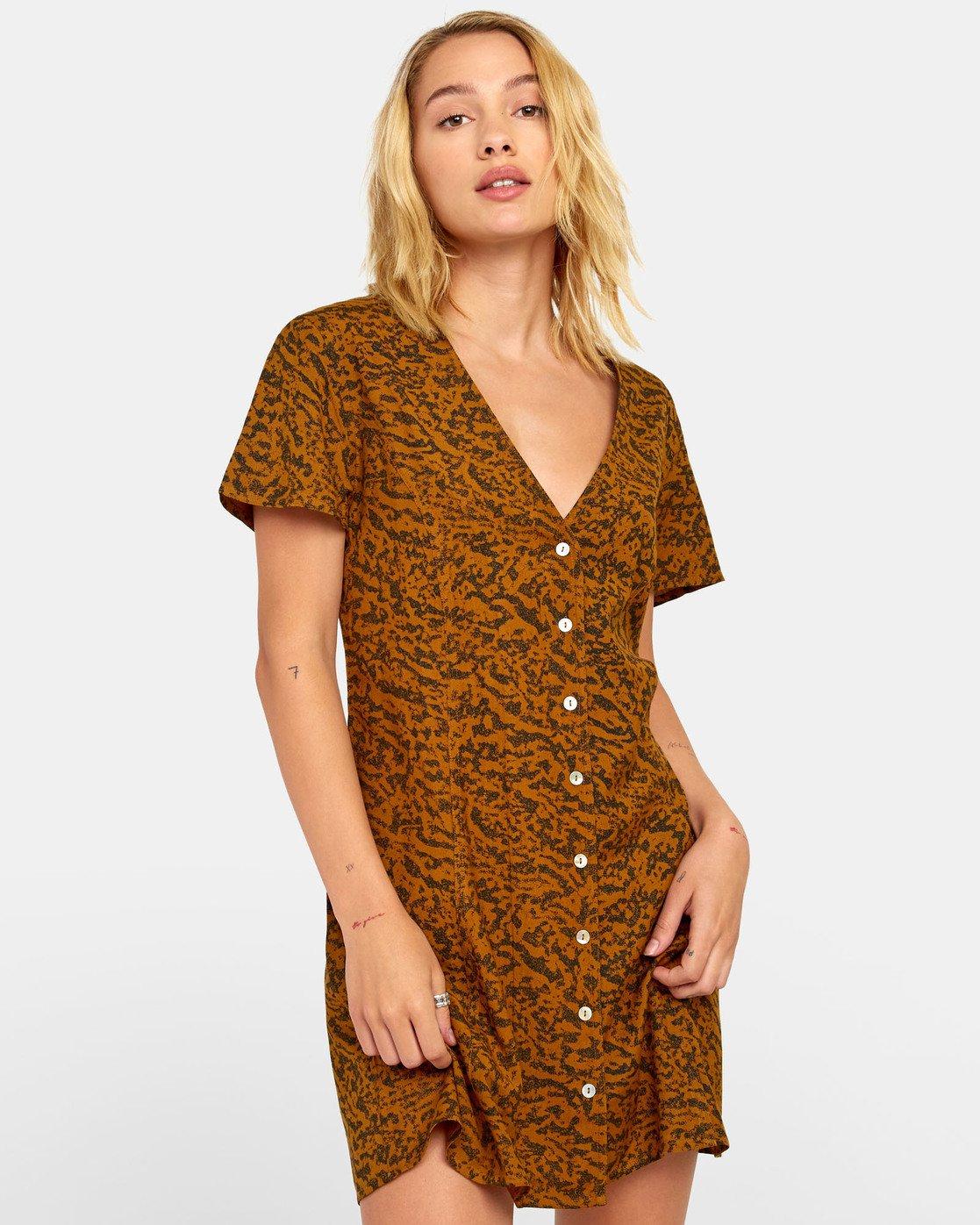 1 Guilt Dress - Robe boutonnée imprimée pour Femme Marron S3DRRORVP0 RVCA