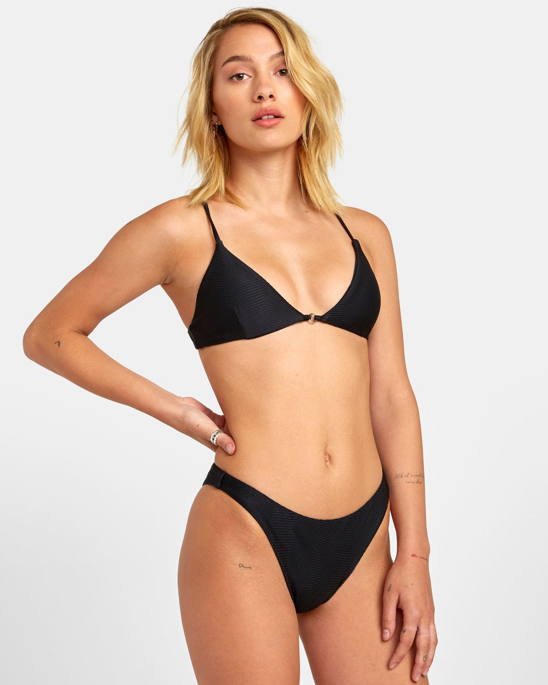 1 Bodega French - Textured Bikini Bottoms for Women Black S3SBRERVP0 RVCA