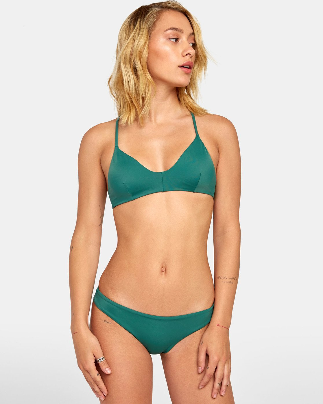 2 Solid Cheeky - Cheeky Bikini Bottoms for Women Green S3SBRLRVP0 RVCA