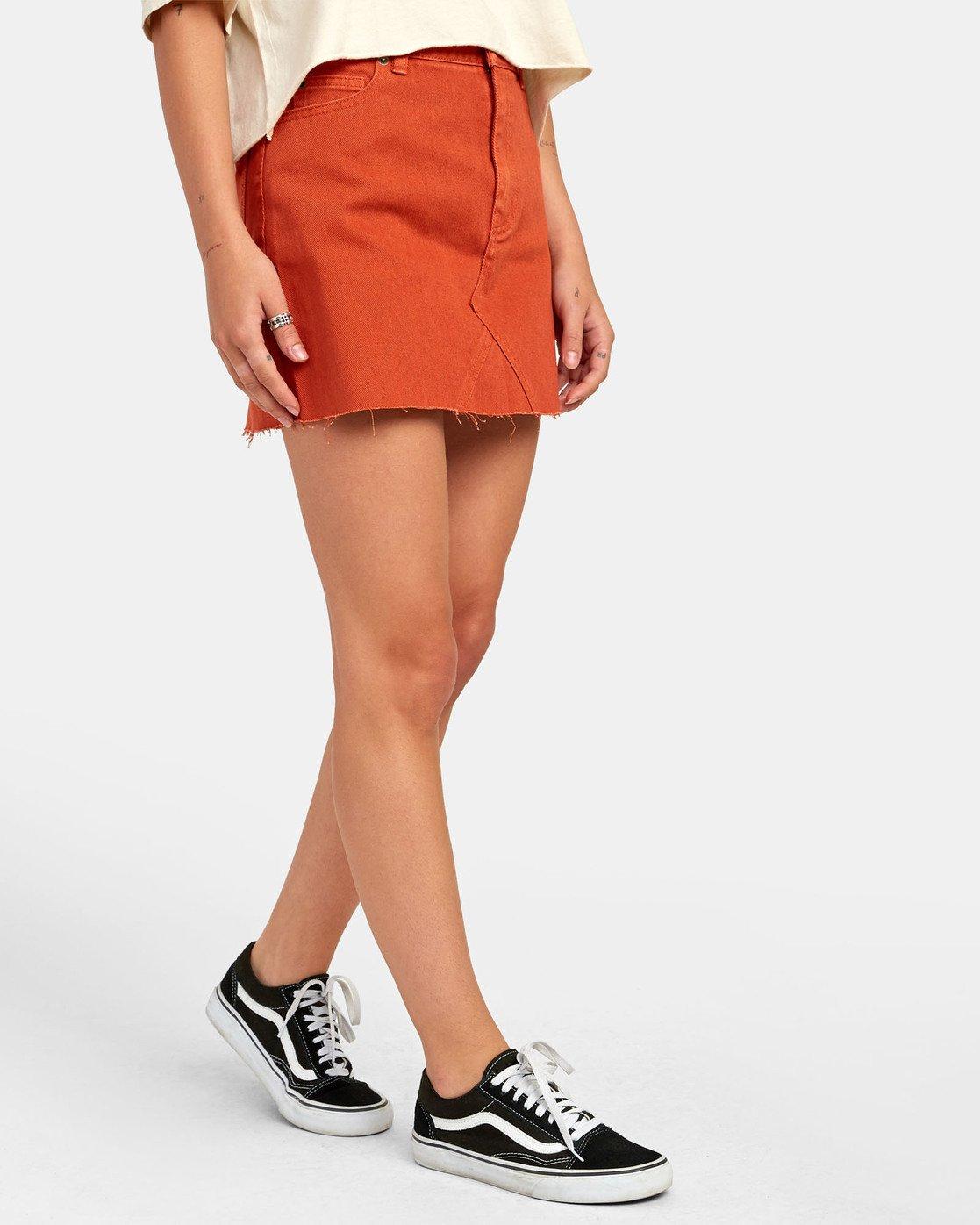 1 Siena - Jupe en jean taille haute pour Femme Orange S3SKRARVP0 RVCA
