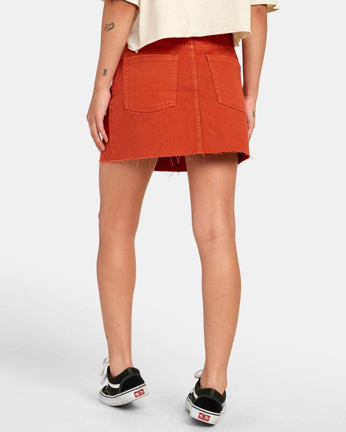 4 Siena - Jupe en jean taille haute pour Femme Orange S3SKRARVP0 RVCA